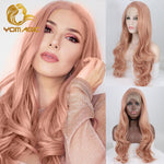 Rose Pink Synthetic Lace Front Wigs (18/20/22/24/26inch)