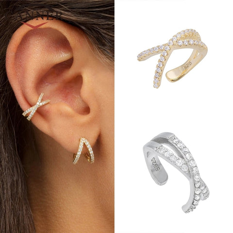 925 Sterling Silver Fashion Diamond Clip On Earring (silver/gold/rose gold)