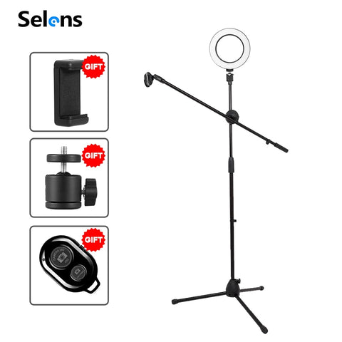 Dimmable LED 16cm Ring Light+Adjustable Phone Photography Shooting Bracket Stand+Boom Arm