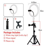 Photography LED Selfie 26cm Ring Light Dimmable With 55cm Tripod + Phone clip