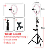 Photography LED Selfie 26cm Ring Light Dimmable With 160cm Tripod + Phone Clip