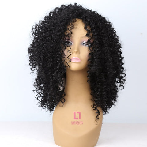 Medium Long afro Kinky Curly Synthetic wig