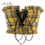 Bohemian Vintage Sexy Ruffle Lace Up Plaid Tank Top (Red/Yellow)