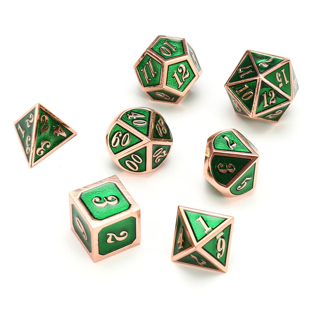 7pc Zinc Alloy Multi sided Dice Set Heavy Metal Polyhedral With Bag