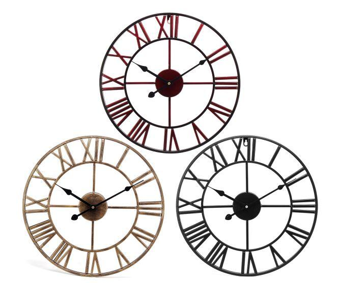 Large Wall Clock Big Roman Numerals Giant Open Face Metal For Home Outdoor Garden