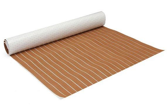 Brown and White  Foam Sheet Boat  Synthetic Teak Decking