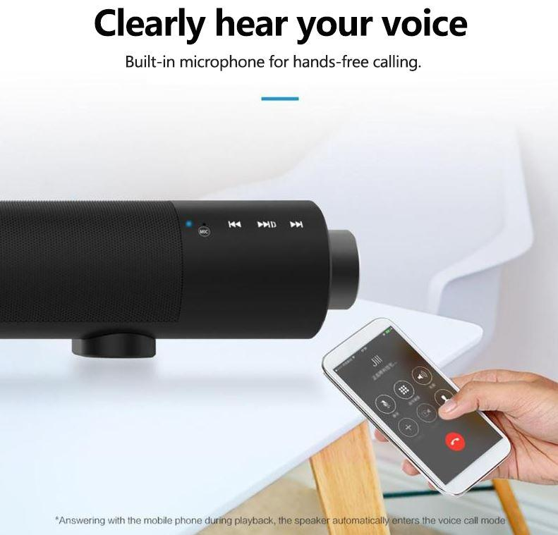 Wireless Bluetooth Soundbar Stereo Speaker with Remote Mic TF Card & AUX Inputs