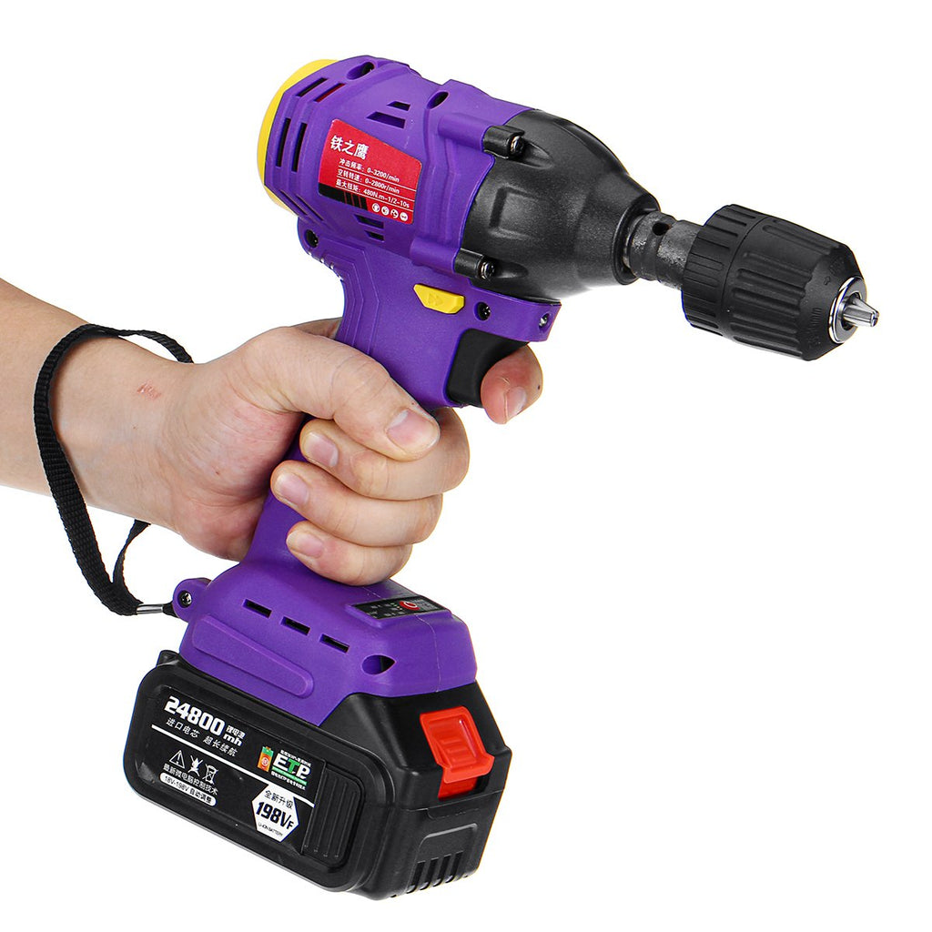 24800mAh 480NM 2 in 1 Electric Cordless Drill Brushless Impact Wrench High Torque with Rechargeable Batteries
