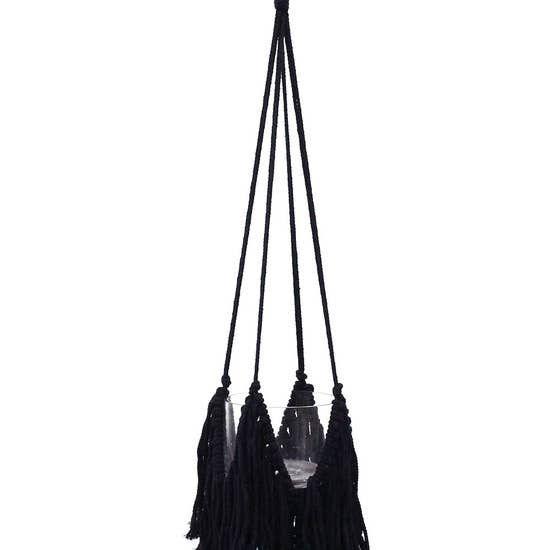 Fringed Black Plant Hanger