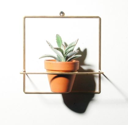 Square Wall Planter Brass