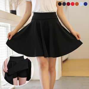 Wowslife™ A-line Elastic Waist Pleated Shorts Skirts