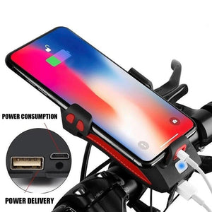 Wowslife™Bicycle mobile phone holder with rechargeable lighting as horn