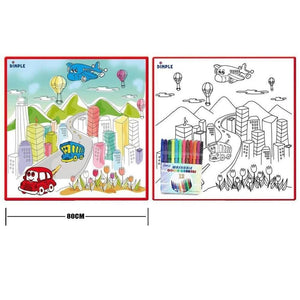 Wowslife™ Kids' Washable Coloring Play Mat with 12 Washable Markers