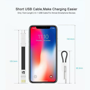 Wowslife™ 3-in-1 Keychain Data Sync Charge Cable