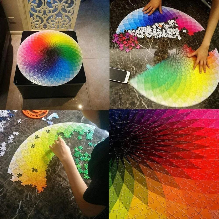 Wowslife™ 1000 pcs round rainbow palette jigsaw puzzles