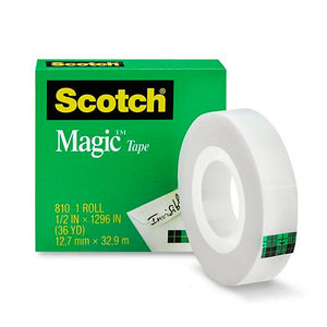 "Scotch 810 Transparent Tape, 1/2"" x 36 yd (Pack of 12)"