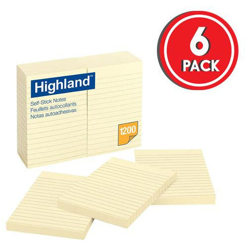 Highland Self-Stick Notes, Lined, 4