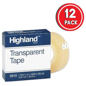"Highland 5910 Transparent Tape, 3/4"" x 36 yd (Pack of 12)"