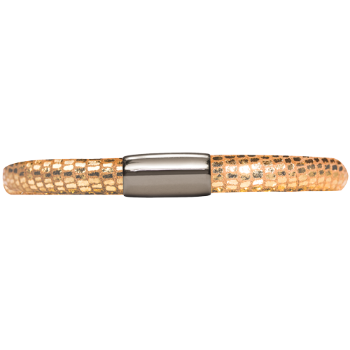 Gold Reptile Leather Single Bracelet - Lock In Stainless steel