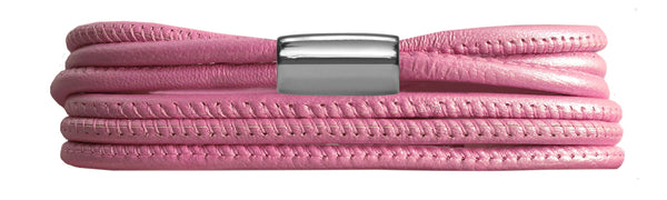 Pink Metallic 3-Strenget Leather Bracelet - Lock In Stainless steel