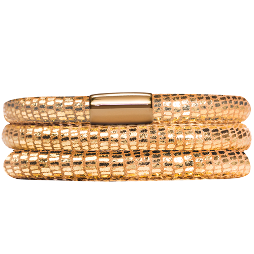 Gold Reptile Leather Triple Bracelet - Lock In Gold
