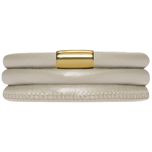 Creme Metallic Leather Bracelet - Lock In Gold