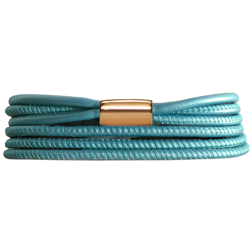BlueGreen Metalic 3-Streng Leather Bracelet - Lock In Gold