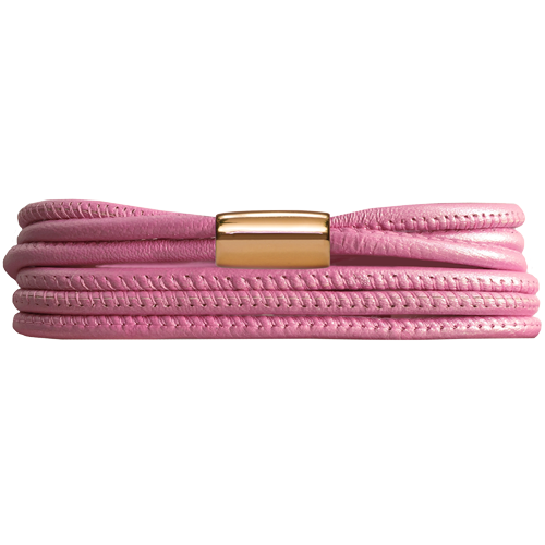 Pink Metallic 3-Streng Leather Bracelet - Lock In Gold