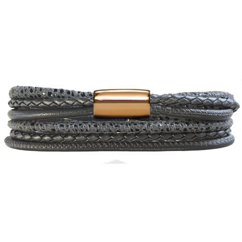 Anthracite Grey Multi 3-Streng Leather Bracelet - Lock In Gold