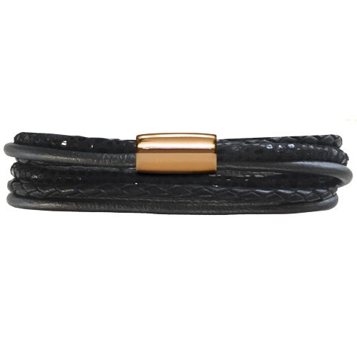 Black Multi Leather 3-Streng Bracelet - Lock In Gold