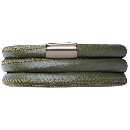 Green Leather Triple Bracelet - Lock In Stainless steel