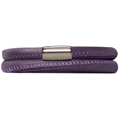Purple Leather Double Bracelet - Lock In Stainless steel