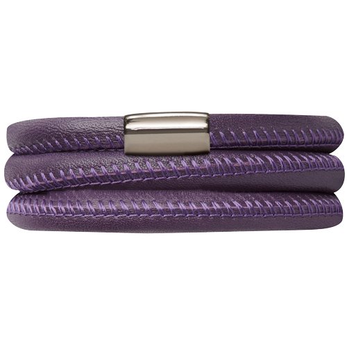 Purple Leather Triple Bracelet - Lock In Stainless steel