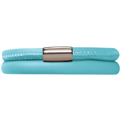 Light blue Leather Double Bracelet - Lock In Stainless steel
