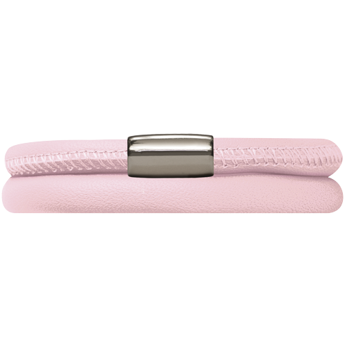Pink Leather Double Bracelet - Lock In Stainless steel
