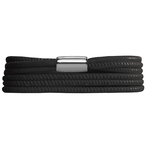 Black 3-Strenget Leather Bracelet - Lock In Stainless steel