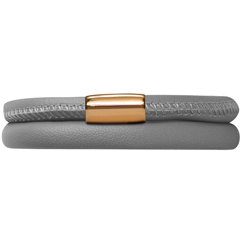 Grey Leather Double Bracelet - Lock In Gold