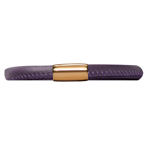 Purple Leather Bracelet - Lock In Gold