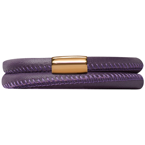 Purple Leather Double Bracelet - Lock In Gold