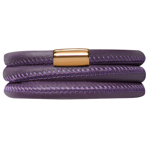 Purple Leather Triple Bracelet - Lock In Gold