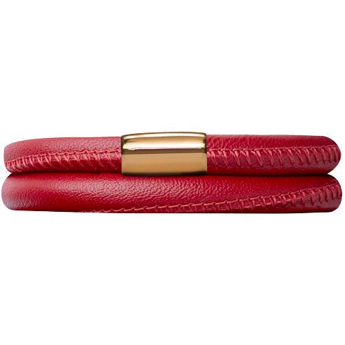 Red Leather Double Bracelet - Lock In Gold
