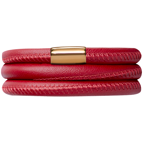 Red Leather Triple Bracelet - Lock In Gold