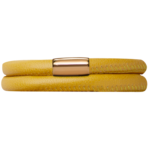 Yellow Leather Double Bracelet - Lock In Gold