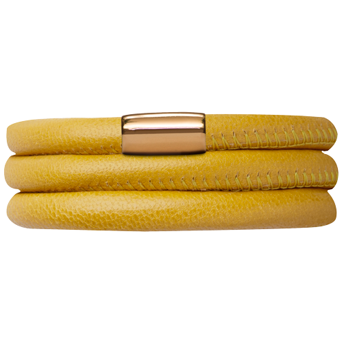 Yellow Leather Triple Bracelet - Lock In Gold