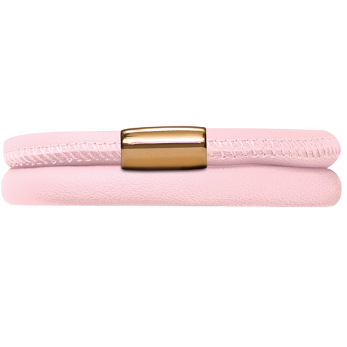 Rose Leather Double Bracelet - Lock In Gold