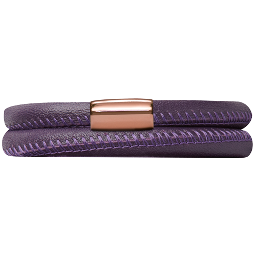 Purple Leather Double Bracelet - Lock In Rose Gold