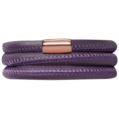 Purple Leather Triple Bracelet - Lock In Rose Gold