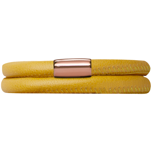 Yellow Leather Double Bracelet - Lock In Rose Gold
