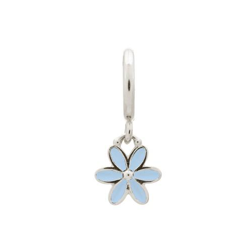 Light Blue Enamel Flower Drop Silver