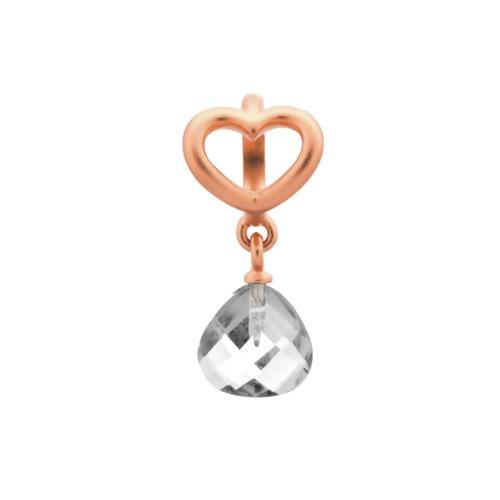 Clear Heart Grip Drop Rose Gold